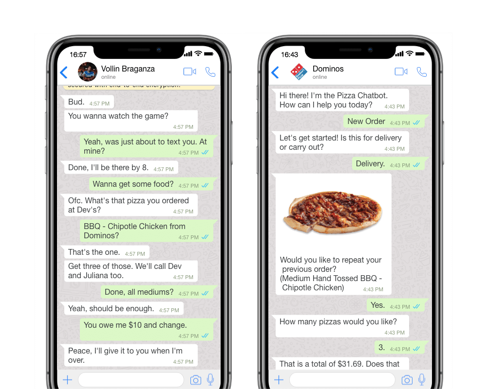 Whatsapp / Facebook Chatbot Development For Online Food Delivery